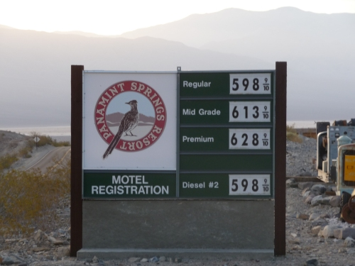 Panamint Springs Gas Prices Sign