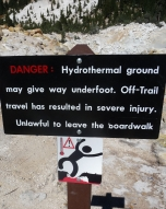 Bumpass Hell Warning Sign