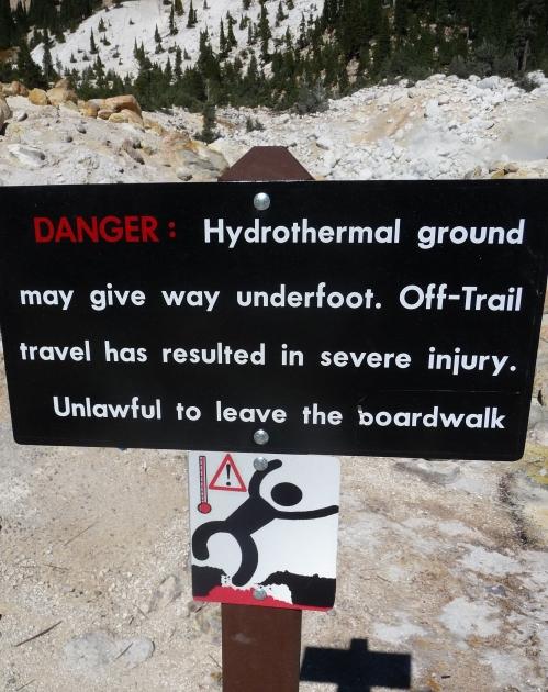 Bumpass Hell Warning Sign