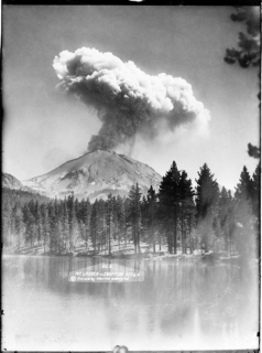 Lassen in Eruption from Manzanita Lake